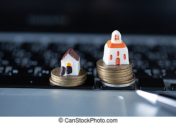 Saving money concept, growing business, savings to buy a house.