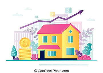 Saving money for real estate investing. Investment concept. Buying a property, capital increase. Rental income, house loan