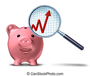 Savings growth chart business symbol as a piggy bank with a magnifying glass showing an upward arrow on a financial graph as a metaphor for budget success.