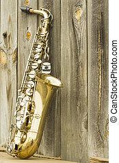 Saxophone Wooden fence