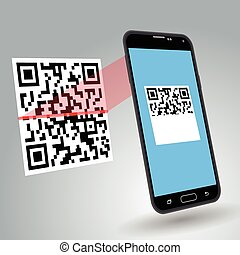 Illustration of scanning a QR code with a smartphone