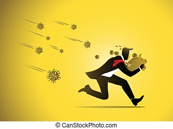 Scared businessman with piggy bank running from virus