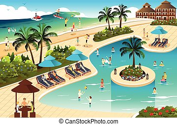 A vector illustration of scene in a tropical resort