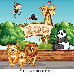 Scene with wild animals at the zoo