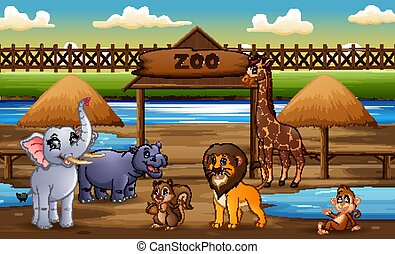 Scene with wild animals at the zoo park illustration