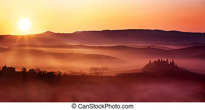 scenic view of dawn on italian countryside landscape
