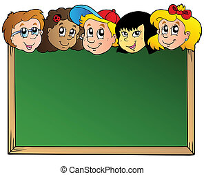 School board with children faces - vector illustration.
