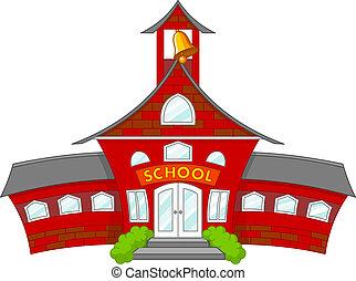 Illustration of cartoon school building