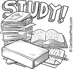 Doodle style school study illustration in vector format. Includes title text, pile of papers, and books.