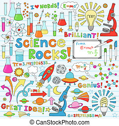 Science Back to School Notebook Doodles Vector Illustration Design Elements Chemestry Physics Icon Set