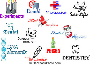 Scientifical and medical symbols set