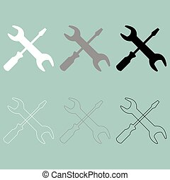 Screwdriver and spanner wrench icon.