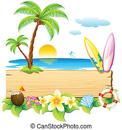 illustration of surf board and palm tree on sea beach