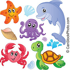 Sea fishes and animals collection 3 - vector illustration.