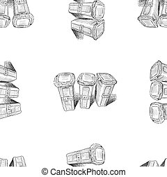 Seamless background of sketches trash cans with sorting garbage