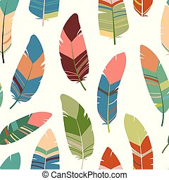 Seamless feathers pattern. Scandinavian colorful design background