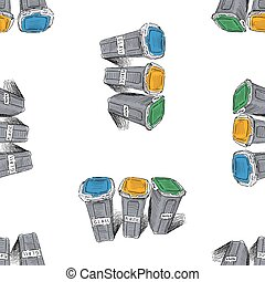 Seamless pattern of drawn trash cans with sorting garbage