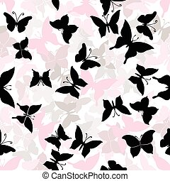 Seamless pattern with silhouettes of butterflies