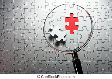 Concept image of detecting a defect.