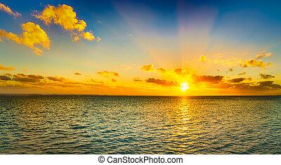 Seascape at sunset. Panorama