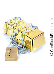 Gold bullion bar ingot chained up with padlock concept of secured money
