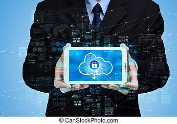 Businessman showing secured internet cloud technology concept for storage and backup