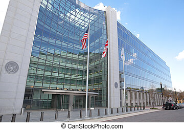 Securities and Exchange Commission, SEC, Building in Washington DC. The SEC regulates stocks and bonds and related financial activities.