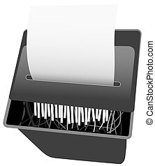 Paper shredder background. Illustation: NOT A PHOTO.. Think of something you don't like - some words or a graphic - and put it on the paper.