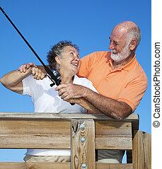 Senior Couple Fishing Together