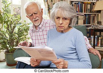 Senior Couple Going Through Finances Looking Worried
