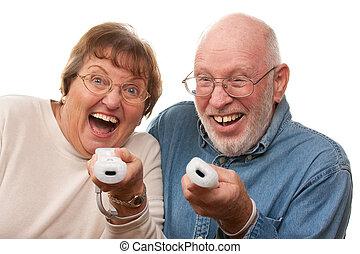 Senior Couple Playing Video Game