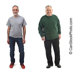 senior man and middle aged man on white