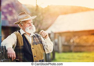 Senior man outside