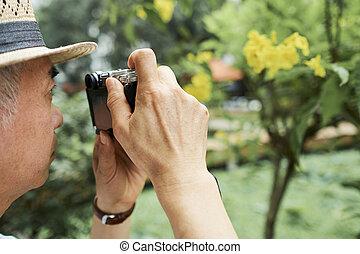 Senior man photographing tree