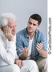 Senior man with depression