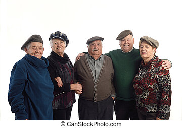 Senior people with hat