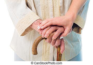 Senior woman in need