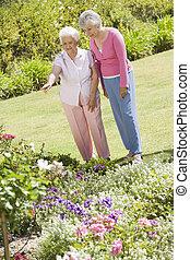 Senior women in garden
