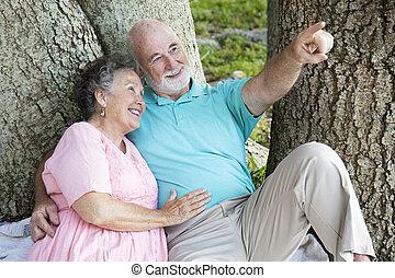 Seniors Bird-Watching in the Park