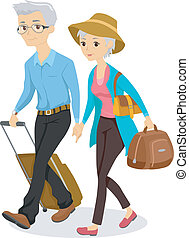 Illustration of an Elderly Couple Traveling Together with Luggage in Tow