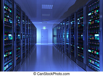 Modern interior of server room in datacenter Design of these servers is my own and all text labels and numbers are fully abstract