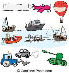 Set cartoon vehicles vector
