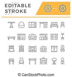 Set editable stroke line icons of furniture