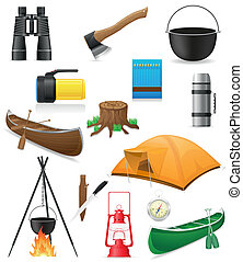 icons items for outdoor recreation