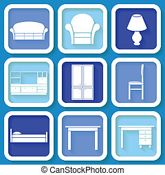 Set of 9 blue icons of furniture