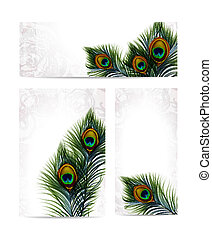 Beautiful vector peacock feathers on retro background with space for text. EPS 10