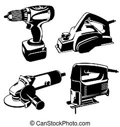 set of black and white images of the power tools. Vector stencil image.