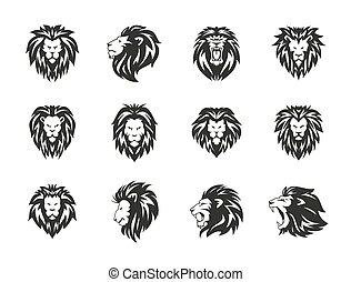 Set of black heraldic lion symbols on white background.