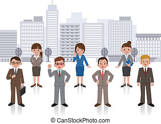 Set of business woman and business