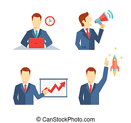 Set of businessman icons depicting a man working at his desk to a deadline public speaking on a megaphone doing a presentation and his career taking off like a rocket or an inspirational idea